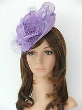 New Church Derby Cocktail Wedding Sinamay Fascinator Hat w Veil Headband Lilac 1