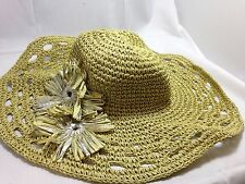 $45 JESSICA SIMPSON WOMENS SUMMER SUNHAT TWO FLOWER LUREX FLOPPY HAT ONE SIZE