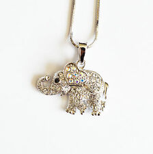New Clear Rhinestones Silver Elephant Cute Pendant Necklace 16 Inches