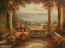 "High Quality Oil Painting on Stretched Canvas 12""x16""- Mediterranean Terrace"