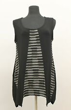 TRANSPARENTE EUROPEAN ASYM JERSEY SLEEVELESS PULLOVER TOP BLOUSE BLK GRY ONE SZ