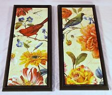 Lisa Audit Framed Prints Rainbow Garden VI & VII Red Green Birds Spring Floral