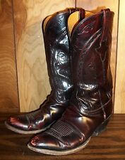 VINTAGE LUCCHESE BLACK CHERRY CLASSICS COWBOY WESTERN BOOTS MENS 10.5 D