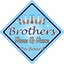 Personalised Child/Baby On Board Car Sign ~ Brothers On Board ~ L.Blue