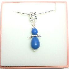 Guardian Angel Necklace with Blue Swarovski Pearl Elements Wedding Bridesmaid