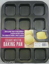 Heavy duty non stick steel BAKING PAN 12 large SQUARE Muffin cupcake cornbread