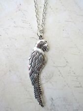 """Kitsch Cute Silver Plated Parrot 18"""" Necklace New Nautical Pirate Fancy Dress"""
