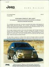 UK CHRYSLER JEEP CONCEPT MODEL PRESS PHOTO - PRESS RELEASE 'BROCHURE 2000