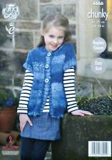 KNITTING PATTERN Girls Easy Knit Short Sleeve Waistcoat Chunky 4666 King Cole