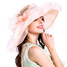 384051ba389cf Pink Women Girl Church Derby Hat Ruffles Wide Brim Summer Bridal Cap One  Size
