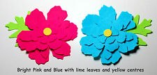 Felt Flower Petals & leaves Die Cuts Vivid Pink Blue Appliques Trimmings Floral