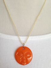 BRAND NEW Hand carved bone full moon face necklace!! Orange