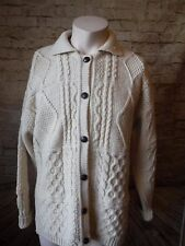 Irish Wool Cable Knit Fisherman's Cardigan Womens Size LARGE Donegal Knitters