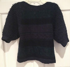 Marc by Marc Jacobs Textured Yarn Stripe Exaggerated Sleeve Navy Sweater XS