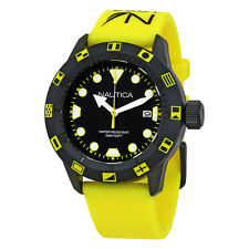 Nautica NSR 100 Flag Black Dial Yellow Silicone Mens Watch NAI10078G