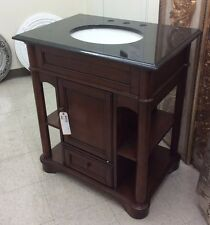 "30"" Single Marble Top Bathroom Vanities Mahogany Empire Oak Vanity Sink Cabinet"