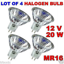 LOT OF 4 BULB HALOGEN LIGHT BULB MR16 CLEAR BI-PIN WIDE BEAM EXN 12 VOLT 20 WATT