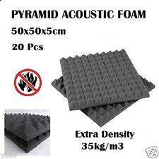 20x Studio Sound Absorption Acoustic Foam Panel Tile Treatment Pyramid 50x50x5cm