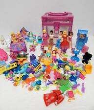 Lot Polly Pocket 12 Dolls 3 Boys 5 Pets Accessories Clothes Car Carrying Case