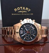 Mens Rotary Rose Gold Plated Chronograph Bracelet Watch 100%Genuine RRP£189 (r66