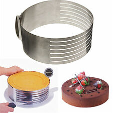 Adjustable Round Stainless Steel Mousse Cake Ring Mold Layer DIY Slicer Cutter
