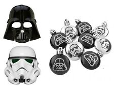 9 x STAR WARS BAUBLES STORMTROOPER DARTH VADER GLITTER CHRISTMAS TREE DECORATION
