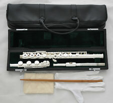 Professional Open Hole Silver Plated Flute B Foot Split E offset G key With Case