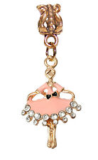 Pink Ballerina Ballet Rhinestone Gold Dangle Bead for European Charm Bracelets
