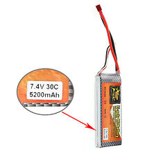ZOP Power 7.4V 5200mAh 30C Lipo Li-poly Battery T Plug for RC Car Boat Truck Acc