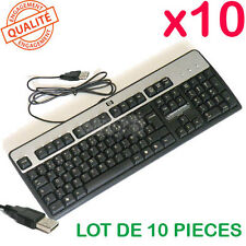 Lot de 10 claviers HP USB AZERTY français PROPRES / nettoyés et dépoussiérés