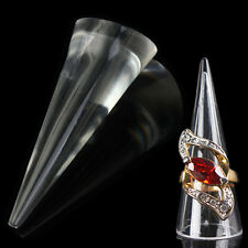 Cone Shape Acrylic Transparent Clear Jewellery Jewelry Ring Display Holder Stand