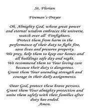 """St. Florian's Firefighter Prayer 8"""" x 10"""" Printed Quilt Block  Applique Fabric"""