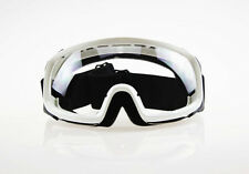 Ski Snowboard Snowmobile Motorcycle Goggles Off-Road White Frame Clear Lens