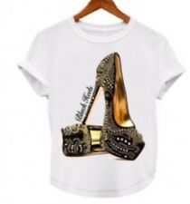 New Fashion Woman Blouse Black Heels  T-shirts Tee