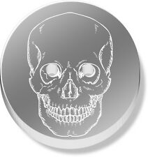 12 x 23mm 'Forward Facing Skull' Round Mirrored Buttons (BT00024519)