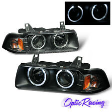 [LED Halo] For 1992-1999 BMW E36 3-Series Coupe Projector Black Headlights G2