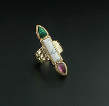 14K Gold Plated Rose Quartz turquoise  Band Malachite Cocktail Ring
