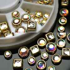 DIY Glitter Rhinestones Nail Art Tips Decoration Square Round GOLD ALLOY 50PCS