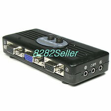 2 PORT 3.5mm STEREO and VGA Manual Sharing Switch AUX Audio Speaker RGB SVGA BOX