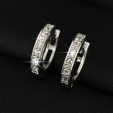 Loop Cubic Zircon Pave Sterling Silver Huggie Hoop Earrings For Women and Men