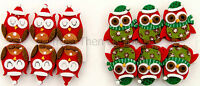 Pack of 6 Cute Christmas Felt Owl Clips Pegs Xmas Cards Hanger Decorations