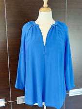 JOIE Sz M Royal Blue Long Sleeve Peasant Blouse Tunic 100% Silk