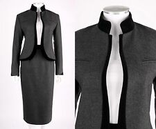VTG LOUIS FERAUD 2PC CHARCOAL GRAY WOOL BLACK VELVET BLAZER SKIRT SUIT SET SZ 10