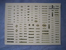 DV5666 MINI-RACING PLANCHE DECALCOMANIE RENAULT ELF OPEL CALBERSON  Rf 1036 1/43