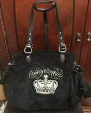 Authentic Juicy Couture Crown Embroidery Large Daydreamer Tote Black Velvet