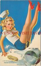 "1940s Mutoscope Card ""Hit The Deck"" Blonde Scrubbing The Floor Zoe Mozert"