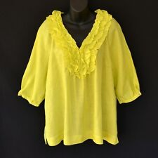 NEW SUSSAN 100% LINEN BLOUSE / TOP / SHIRT / KAFTAN YELLOW GREEN RUFFLE BOHO 10
