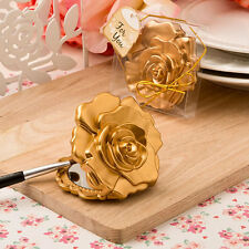 Ornate Matte Gold Rose Design Cosmetic Compact Mirror Wedding Party Favor