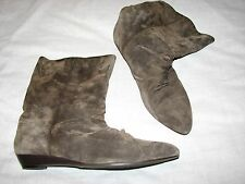 10 M Dollhouse Ladies Boots Half Calf Ankle Suede Leather Flats Dark gray Brown
