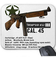 THOMPSON M1A1 CAL 45 USA ARMY WWII - MOUSE MAT/PAD AMAZING DESIGN